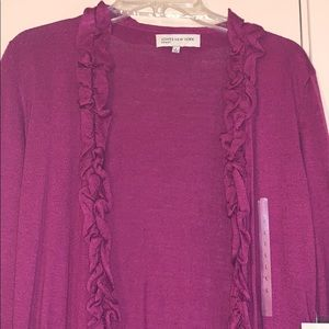 Jones New York Large Merlot Ruffle Collar Cardigan